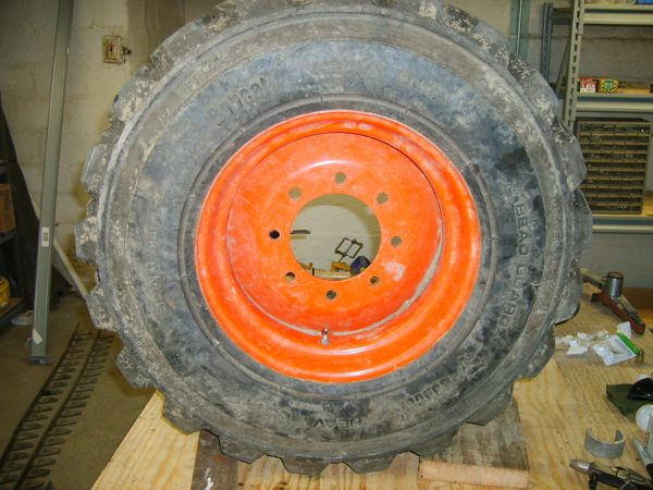 Bobcat wheel removed